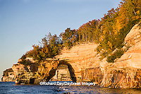 64745-00213 Pictured Rocks National Lakeshore in fall from Lake Superior near Munising MI