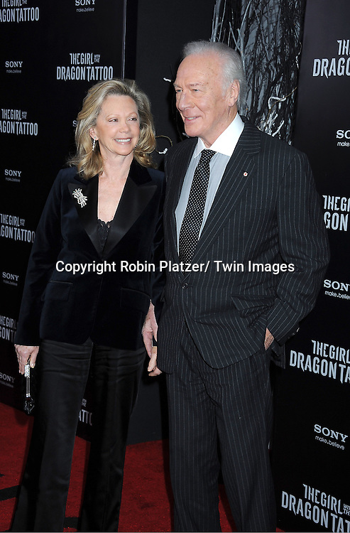 "Christopher Plummer and wife Elaine attends the New York Premiere of ""The Girl With The Dragon Tattoo"" on December 14, 2011 at The Ziegfeld Theatre in New York City. The movie stars Daniel Craig, .Rooney Mara, Christopher Plummer, Stellan Skarsgard, Robin Wright and Joely Richardson."
