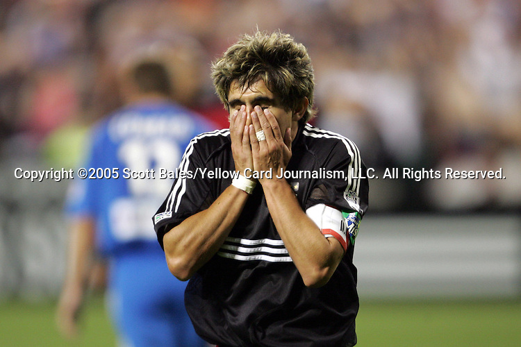 21 May 2005: DC United's Jaime Moreno reacts to missing a shot late in the second half. DC United defeated the Kansas City Wizards 3-2 at RFK Stadium in Washington, DC in a regular season Major League Soccer game. .