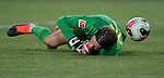 Football: Test Match, Liverpool FC - Borussia Dortmund.Borussia Dortmund goalkeeper Marwin Hitz (35) lays on the turf after he couldn't stop a penalty kick by Liverpool forward Rhian Brewster (not shown) in their exhibition match on July 19, 2019 at Notre Dame Stadium. <br /> Tim Vizer/DPA