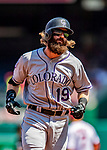 14 April 2018: Colorado Rockies outfielder Charlie Blackmon rounds the bases after hitting a 2-run homer in the first inning to open the scoring against the Washington Nationals at Nationals Park in Washington, DC. The Nationals rallied to defeat the Rockies 6-2 in the 3rd game of their 4-game series. Mandatory Credit: Ed Wolfstein Photo *** RAW (NEF) Image File Available ***