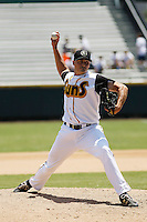 Jacksonville Suns pitcher Sean Donatello (30) in action during a game against the Pensacola Blue Wahoos at Bragan Field on the Baseball Grounds of Jacksonville on May 11, 2015 in Jacksonville, Florida. Jacksonville  defeated Pensacola 5-4. (Robert Gurganus/Four Seam Images)