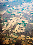 Farms and center pivot irrigation, southern Kansas from a window seat above.