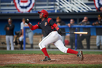 Batavia Muckdogs shortstop Marcos Rivera (8) hits a game winning walk off three run home run in the bottom of the ninth inning during a game against the West Virginia Black Bears on June 25, 2017 at Dwyer Stadium in Batavia, New York.  Batavia defeated West Virginia 4-1 in nine innings of a scheduled seven inning game.  (Mike Janes/Four Seam Images)