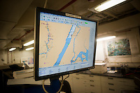 A computer screen show the location of the ship, aboard the Environmental Protection Agency OSV Bold in New York at Riverbank State Park on Saturday, July 31, 2010. The ship is the EPA' s only coastal and ocean monitoring vessel. Equipped with state-of-the-art technology the crew samples, monitors, maps and analyzes the impact of human activities, such as discharge, shoreline development and pollution, on oceans and coastal waters. (© Richard B. Levine)