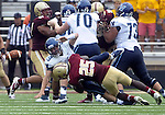 (Boston Ma, 083131)  Villanova quarterback John Robertson is sacked by Josh Keyes loosing the ball late in the 4th quarter that was recovered by Boston College sealing their win, BC won the game 24-14, Saturday at Alumni Stadium.   (Jim Michaud Photo) for Sunday