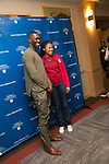 Tarell Alvin McCraney with Kendall Sprinkle, Friday, April 21, 2017 in the Lincoln Park Student Center. (Photo by Diane M. Smutny)