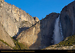 Upper Yosemite Fall Frozen at Sunrise in March, Cook's Meadow, Yosemite National Park
