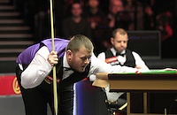 Mark Allen eyes up a shot during the Dafabet Masters Quarter Final 1 match between Mark Allen and Barry Hawkins at Alexandra Palace, London, England on 14 January 2016. Photo by Liam Smith / PRiME Media Images