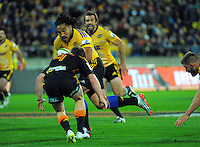 Ma'a Nonu heads for the tryline with Conrad Smith in support during the Super Rugby match between the Hurricanes and Chiefs at Westpac Stadium, Wellington, New Zealand on Saturday, 16 May 2015. Photo: Dave Lintott / lintottphoto.co.nz