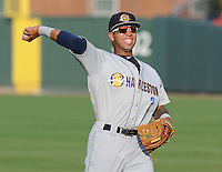 Infielder Cito Culver (2) of the Charleston RiverDogs, a New York Yankees affiliate, before a game against the Greenville Drive on May 31, 2012, at Fluor Field at the West End in Greenville, South Carolina. Charleston won, 13-2. Culver is the Yankees' No. 12 prospect, according to Baseball America and was a first-round draft pick in 2010. (Tom Priddy/Four Seam Images)