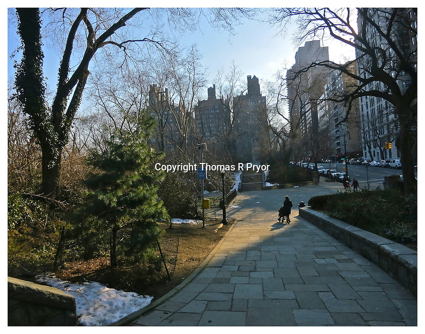 NEW YORK, NY - FEBRUARY 15: Carl Schurz Park pathway in winter in Yorkville, New York on February 15, 2013. Photo Credit: Thomas R Pryor