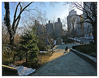 NEW YORK, NY - FEBRUARY 15: Carl Schurz Park pathway in winter in Yorkville, New York on February 15, 2013. Photo Credit: Thomas R Pryor
