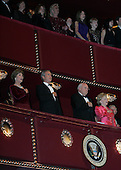 First lady Laura Bush, United States President George W. Bush, Vice President Dick Cheney, and Lynne Cheney attend the Kennedy Center Honors at the John F. Kennedy Center for the Performing Arts in Washington, on December 4, 2005..Credit: Katie Falkenberg - Pool via CNP