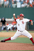 Jeremy Erben of the Oklahoma Sooners playing in Game Two of the NCAA Super Regional tournament against the Virginia Cavaliers at Charlottesville, VA - 06/13/2010. Oklahoma defeated Virginia, 10-7, to tie the series after two games.  Photo By Bill Mitchell / Four Seam Images