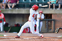 Greenville Reds Carlos Reina (47) swings at a pitch during a game against the Elizabethton Twins at Pioneer Park on June 29, 2019 in Greeneville, Tennessee. The Twins defeated the Reds 8-1. (Tony Farlow/Four Seam Images)