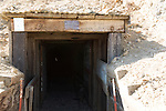 Burro Schmidt Tunnel entrance showing some of the timbers inside