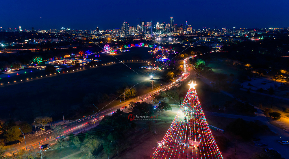 The Zilker Holiday Tree Austin Trail of Lights is Austin's largest Christmas holiday tradition covering all of Zilker Park and is the second largest event in the city behind the ACL Music Festival.