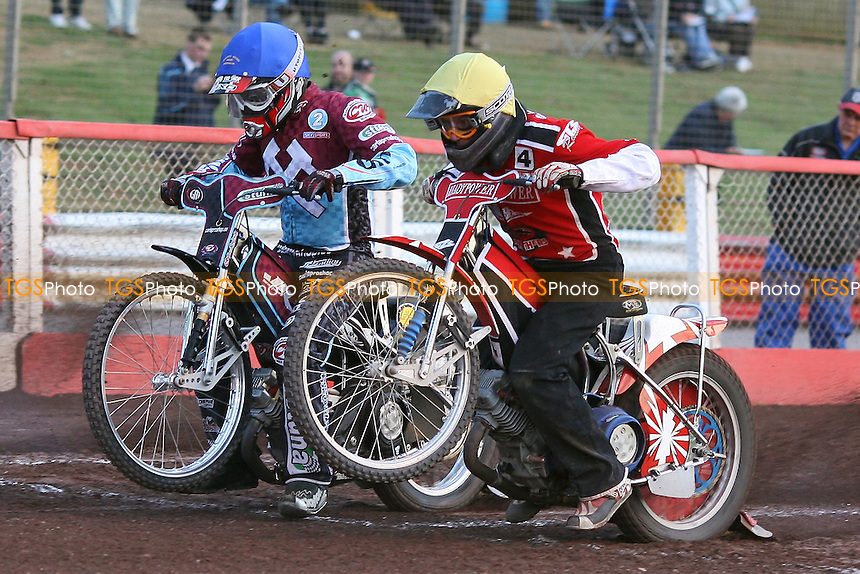 Heat 10: Joonas Kylmakorpi (blue) and Henning Bager (yellow) off the start - Lakeside Hammers vs Peterborough Panthers - Sky Sports Elite League Speedway at Arena Essex Raceway - 19/06/09- MANDATORY CREDIT: Gavin Ellis/TGSPHOTO - Self billing applies where appropriate - 0845 094 6026 - contact@tgsphoto.co.uk - NO UNPAID USE.