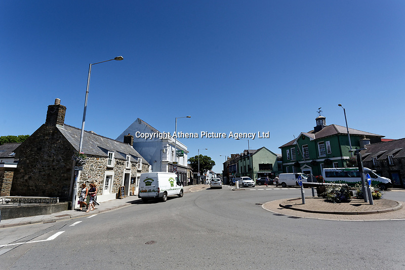 Pictured: The town centre of Fishguard. Thursday 28 June 2018<br /> Re: The bell of St Mary's Church in the town of Fishguard will not be ringing on Sunday morning in west Wales, UK.