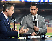 HOUSTON - OCTOBER 23: Kevin Burkhardt, and Alex Rodriguez at World Series Game 2: Washington Nationals at Houston Astros on Fox Sports at Minute Maid Park on October 23, 2019 in Houston, Texas. (Photo by Frank Micelotta/Fox Sports/PictureGroup)