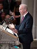 Former United States Senator Joseph Lieberman (Independent Democrat of Connecticut) speaks at the funeral service for the late US Senator John S. McCain, III (Republican of Arizona) at the Washington National Cathedral in Washington, DC on Saturday, September 1, 2018.<br /> Credit: Ron Sachs / CNP<br /> <br /> (RESTRICTION: NO New York or New Jersey Newspapers or newspapers within a 75 mile radius of New York City)