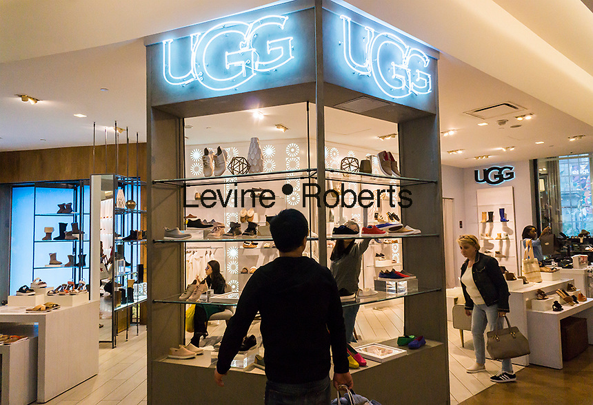 The Ugg boutique in the shoe department in the Macy's Herald Square flagship store in New York on Monday, May 29, 2017. Deckers Outdoor Corp., the parent of the Ugg brand, will expand boutiques into 200 Macy's stores after the trial run in the Herald square store. (© Richard B. Levine)