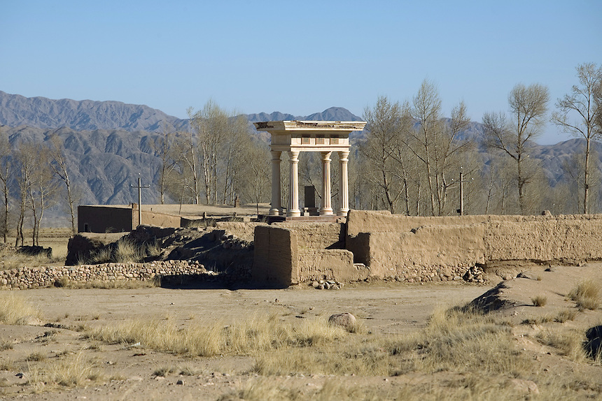 A Doric pagoda has been erected in Liqian village to commemorate the belief that Roman soldiers may have founded the village in western Gansu province.