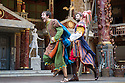 London, UK. 03.09.2014. THE COMEDY OF ERRORS, by William Shakespeare, opens at Shakespeare's Globe, directed by Blanche McIntyre. Picture shows: Jamie Wilkes (Dromio of Ephesus) and Simon Harrison (Antipholus of Syracuse). Photograph © Jane Hobson.