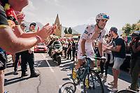 """white jersey / best young rider Pierre Latour (FRA/AG2R-LaMondiale) coming through """"Dutch Corner"""" (#7) on Alpe d'Huez<br /> <br /> Stage 12: Bourg-Saint-Maurice / Les Arcs > Alpe d'Huez (175km)<br /> <br /> 105th Tour de France 2018<br /> ©kramon"""