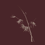 Exquisite artistic design in oriental Japanese Zen ink painting style of bamboo stalk with young leaves, illustration on dark red burgundy background