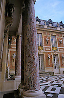 Columns in the courtyard of Versailles, Paris, France.