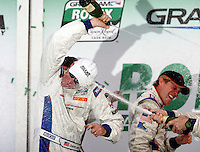 Darren Law, left,  celebrates his win in the Rolex 24 at Daytona , Daytona International Speedway, Daytona Beach, FL, January 2009.  )Photo by Brian Cleary)
