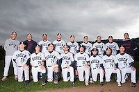 23 October 2010: Team Rouen poses prior to Savigny 8-7 win (in 12 innings) over Rouen, during game 3 of the French championship finals, in Rouen, France. First row, from left: Luc Piquet, Oscar Combes, Boris Marche, Mathieu Crescent, Saad Anouar, Yohann Bret, Aldo Ramelet, Anthony Piquet. Second row, from left: Francois Colombier, Gregory Fages, Keino Perez, Aaron Hornostaj, Kenji Hagiwara, Mathieu Brau, Joris Bert, David Gauthier, Robin Roy