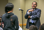 Dr. Freeman Hrabowski, president of the University of Maryland - Baltimore County, and chair of the President's Advisory Commission on Educational Excellence for African Americans, speaks Tuesday, April 18, 2017, at DePaul University as part of the President's Speakers Series on Race and Free Speech. His research and publications focus on science and math education, with special emphasis on minority participation and performance. (DePaul University/Jamie Moncrief)