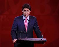 April 22 , 2014 -  Justin Trudeau,Leader,  Liberal Party of Canada deliver Keynote Address at the 2014 Biennial Convention in Montreal. <br /> <br /> Justin Trudeau, chef du Parti liberal du Canada prononce son discour principal devant les delegue(e)s lors du  Congres biennal liberal a Montreal,  samedi le 22  fevrier 2014.<br /> <br /> Photo : (c) Raffi Kirdi - Images Distribution