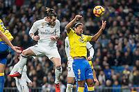 Garet Bale of Real Madrid competes for the ball with Mauricio Lemos of UD Las Palmas during the match of Spanish La Liga between Real Madrid and UD Las Palmas at  Santiago Bernabeu Stadium in Madrid, Spain. March 01, 2017. (ALTERPHOTOS / Rodrigo Jimenez) /NORTEPHOTOmex