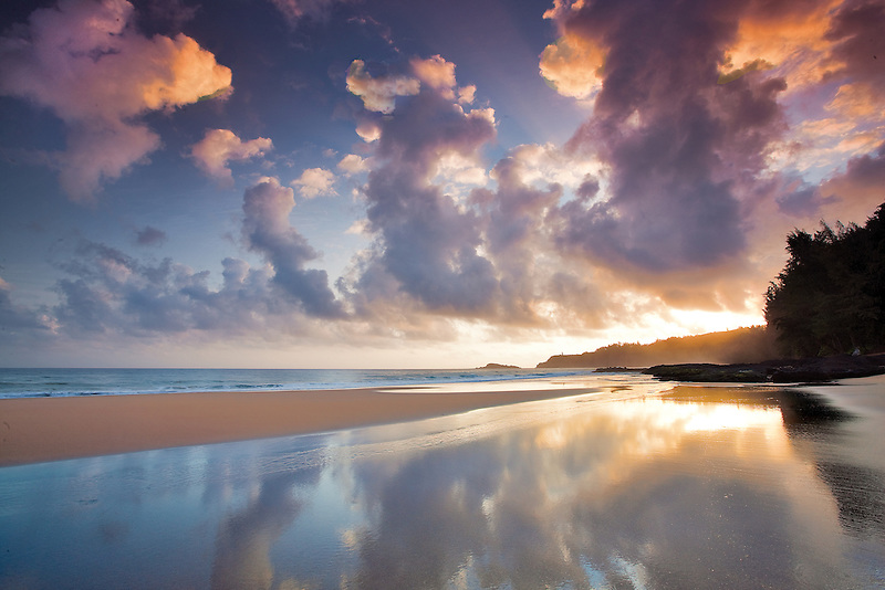 Sunrise at low tide at Secret Beach. Kauai, Hawaii.