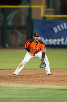 AZL Giants first baseman Angeddy Almanzar (21) on defense during a game against the AZL Angels on July 10, 2017 at Scottsdale Stadium in Scottsdale, Arizona. AZL Giants defeated the AZL Angels 3-2. (Zachary Lucy/Four Seam Images)