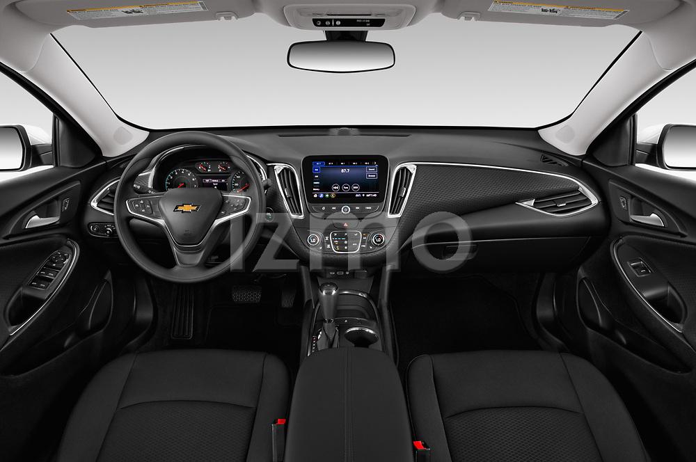 Stock photo of straight dashboard view of a 2019 Chevrolet Malibu LT 4 Door Sedan