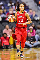 Washington, DC - June 15, 2018: Washington Mystics guard Kristi Toliver (20) brings the ball up court during game between the Washington Mystics and Los Angeles Sparks at the Capital One Arena in Washington, DC. (Photo by Phil Peters/Media Images International)