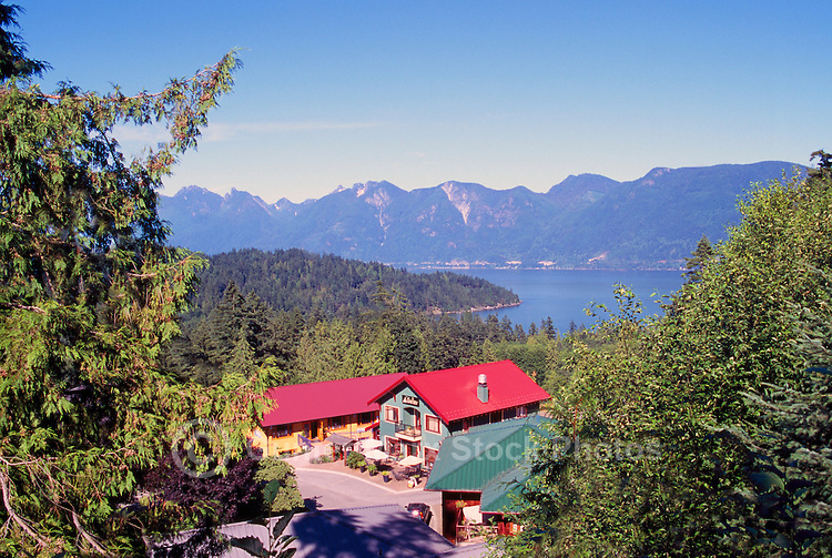 """Shops at Artisan Square, overlooking Deep Bay on Bowen Island, BC, British Columbia, Canada - Howe Sound, Coast Mountains in the Distance, along the """"Sea to Sky"""" Highway 99 from Vancouver to Whistler, Summer"""