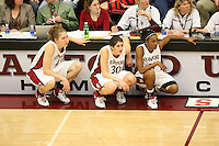 4 February 2007: Stanford Cardinal Kristen Newlin, Brooke Smith, and Candice Wiggins during Stanford's 72-57 loss against the California Golden Bears at Maples Pavilion in Stanford, CA.