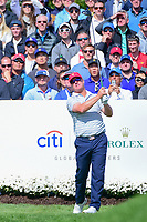 Charley Hoffman (USA) watches his tee shot on 4 during round 3 Four-Ball of the 2017 President's Cup, Liberty National Golf Club, Jersey City, New Jersey, USA. 9/30/2017.<br /> Picture: Golffile | Ken Murray<br /> <br /> All photo usage must carry mandatory copyright credit (&copy; Golffile | Ken Murray)