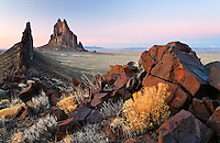 Shiprock Rock and black dike ridge, New Mexico, USA