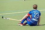GER - Mannheim, Germany, April 15: During the field hockey 1. Bundesliga match between Mannheimer HC (blue) and Rot-Weiss Koeln (white) on April 15, 2018 at Am Neckarkanal in Mannheim, Germany. Final score 2-2.  Jan-Philipp Fischer #23 of Mannheimer HC<br /> <br /> Foto &copy; PIX-Sportfotos *** Foto ist honorarpflichtig! *** Auf Anfrage in hoeherer Qualitaet/Aufloesung. Belegexemplar erbeten. Veroeffentlichung ausschliesslich fuer journalistisch-publizistische Zwecke. For editorial use only.