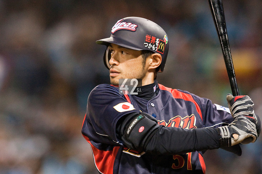 19 March 2009: #51 Ichiro Suzuki of Japan is seen at bat during the 2009 World Baseball Classic Pool 1 game 6 at Petco Park in San Diego, California, USA. Japan wins 6-2 over Korea.