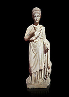 Roman statue of Nemesisgoddess of  retribution. Marble. Perge. 2nd century AD. Inv no 28.23.79. Antalya Archaeology Museum; Turkey. Against a black background.