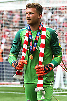 Charlton goalkeeper, Dillon Phillips, wearing his winners medal and holding a Charlton scarf after the match during Charlton Athletic vs Sunderland AFC, Sky Bet EFL League 1 Play-Off Final Football at Wembley Stadium on 26th May 2019