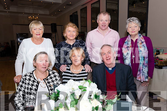 Mary O'Donnell, Nora Curran, James Finn and Margaret Sheehy with, front, Marian O'Sullivan, Noreen Finn and fr. Joe Begley at the Dingle Peninsula Senior Citizens Annual Social at the Skellig Hotel, Dingle, on Sunday afternoon.